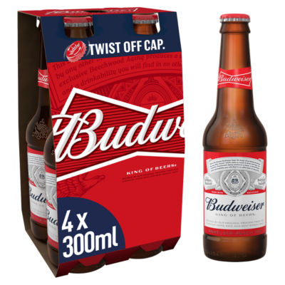 Budweiser Lager Beer Bottles 4x300ml