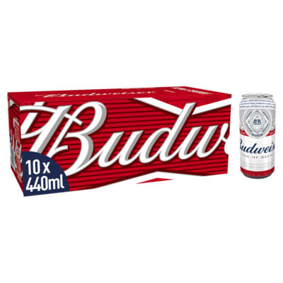 Budweiser Lager Beer Cans 10x440ml