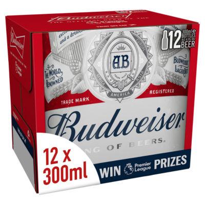 Budweiser Lager Beer Bottles 24x300ml