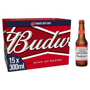 Budweiser Lager Beer Bottles 15x300ml