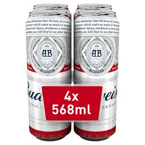 Budweiser Lager Beer Cans 4x568ml