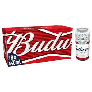 Budweiser Lager Beer Cans 18x440ml